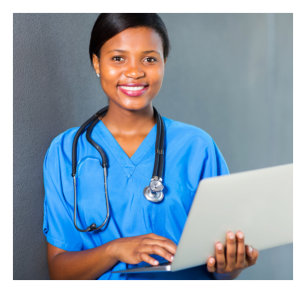 medical staff with laptop