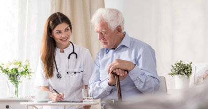 an elderly person and a doctor