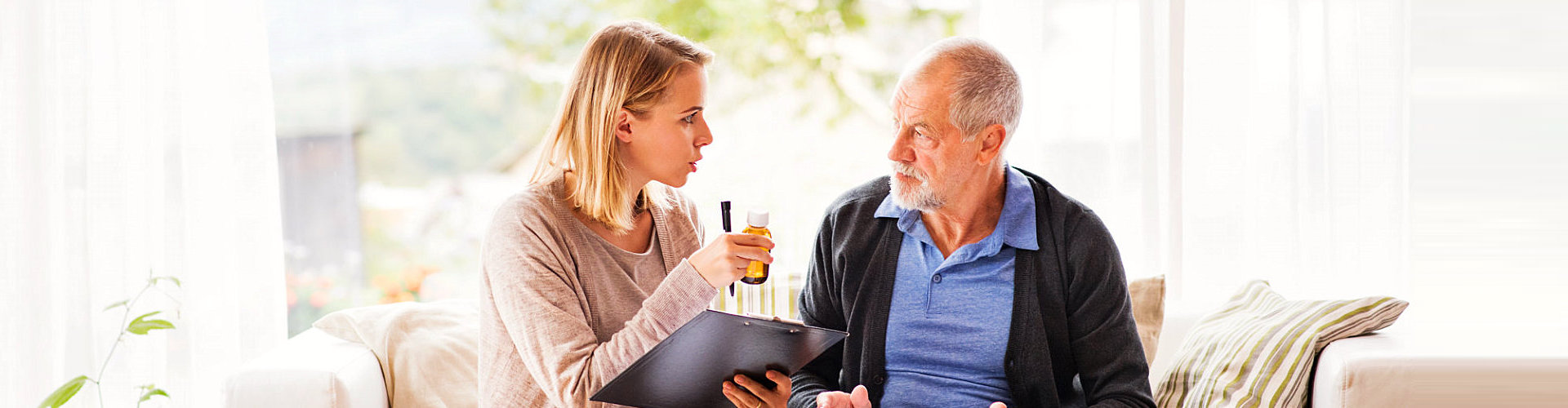 elderly person with healthcare professional