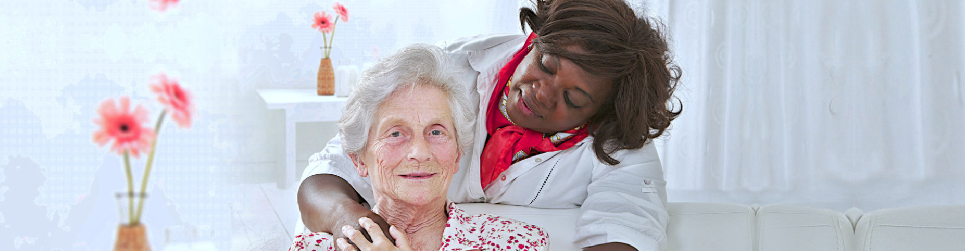 elderly woman and a healtcare professional